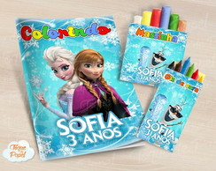 Kit colorir giz massinha frozen