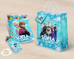 Kit colorir giz sacola frozen