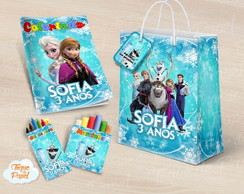 Kit colorir giz massinha e sacola frozen