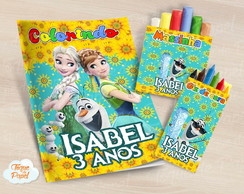 Kit colorir giz massinha frozen fever