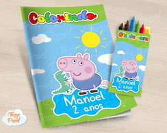 Kit colorir com giz de cera George Pig