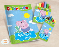 Kit colorir giz massinha Georg Pig