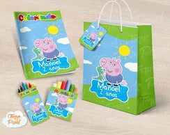 Kit colorir giz massa sacola George Pig