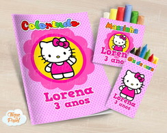 Kit colorir giz massinha Hello Kitty