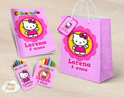 Kit colorir giz massa sacola Hello Kitty