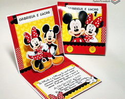 Convite Mini Pop Up - Mickey e Minnie