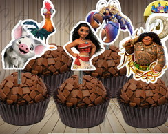 Moana 50 toppers tags para doces