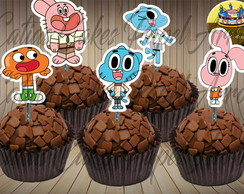 Gumball 50 toppers tags para doces