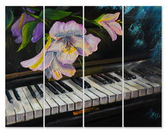 Placa Decorativa Painel MDF Foto Piano e Flor