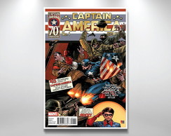 Placa Decorativa Capitao america revista