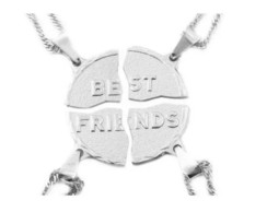 4 Colar Best Friends Folheada a Prata