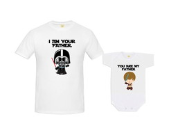 Kit Camiseta Star Wars Baby Darth Vader e Luke Skywalker