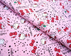 Tecido Hello Kitty Rosa