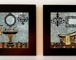 Kit 2 Quadros Lavabo animalprint
