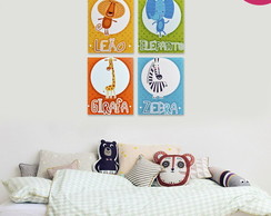 Kit 04 Placas Decorativas Infantil