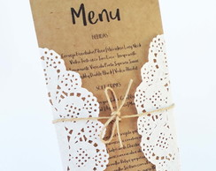 Menu Kraft em Papel Rendado
