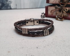 Pulseira Couro Magnetic Black Brown