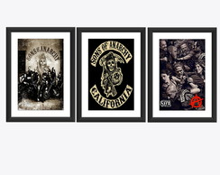 kit 3 Quadro Sons Anarchy Seriado Poster