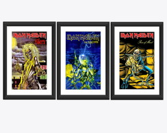 Kit 3 Quadro Iron Maiden Eddie Rock Arte