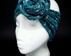Turbante Aramado Verde Estampado