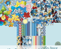 Kit Scrapbook Digital Smurfs