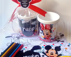 Caneca com Kit Colorir - Mickey e Minnie