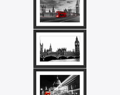 Kit 3 Quadro Londres Big Ben Red Bus Art