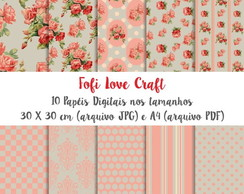 Papel Digital Rosa Floral - Cód 046