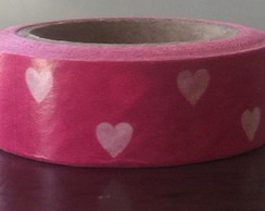 Washi Tape Pink com Coracoes