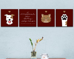 Conjunto de Quadros Dog And Cat 2