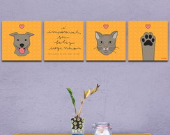 Conjunto de Quadros Dog And Cat 3