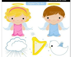 Kit Digital Scrapbook Batizado Anjo 2