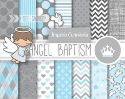 Kit Digital Scrapbook Batizado Anjo 7