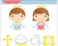 Kit Digital Scrapbook Batizado Anjo 8