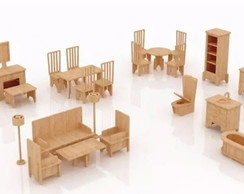 Kit Moveis p/ casa Barbie Mdf Pintado