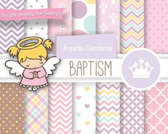 Kit Digital Scrapbook Batizado Anjo 24