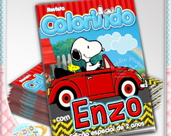 Revista de colorir Snoopy no Fusca