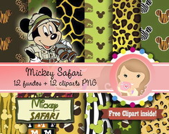 Kit papel Digital MICKEY SAFARI