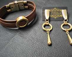 Conjunto Brinco+Pulseira Golden Circle -Black Week Sofistics
