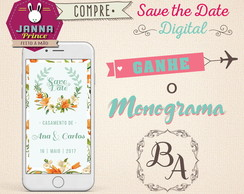 Save the Date digital - Grátis Monograma