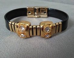 Pulseira black golden strass