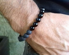 Pulseira Masculina 8mm Pedra lava com on