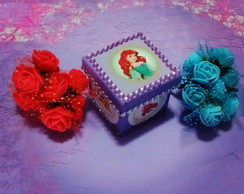 Caixa mdf decorada scrap Princesa Ariel.