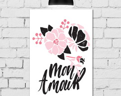 Placa Decorativa 20x30 Floral Rosa