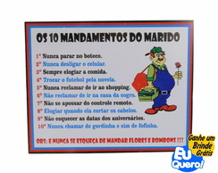 Placa MDF adesivada - Deveres do Marido