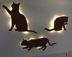 Kit Trio Gatos Luminarias MDF
