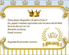 Convite Cha De Bebe Realeza Elo7