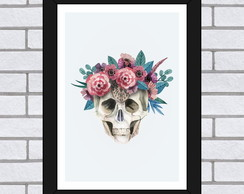 Quadro A4 - Skull With Flowers