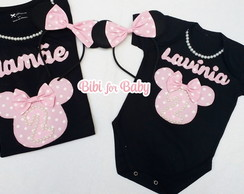 Kit Camiseta E Body Minnie Rosa