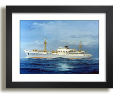 Quadro Mar Navio Ceu Decorativo F50